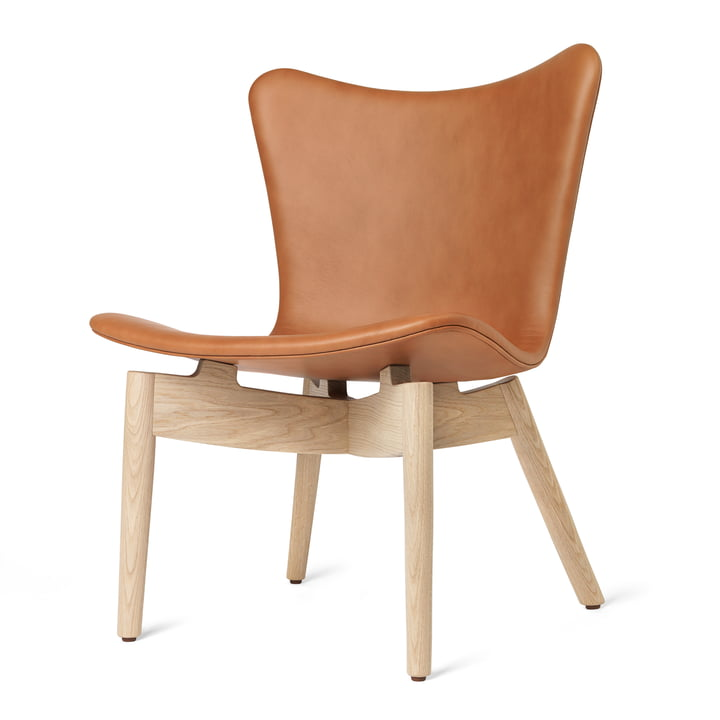 Shell Lounge Chair von Mater in Eiche matt lackiert / Leder Ultra Brandy