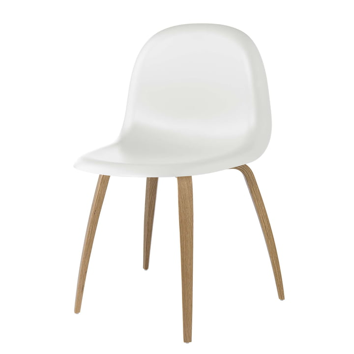 3D Dining Chair Wood Base von Gubi in Eiche / White Cloud