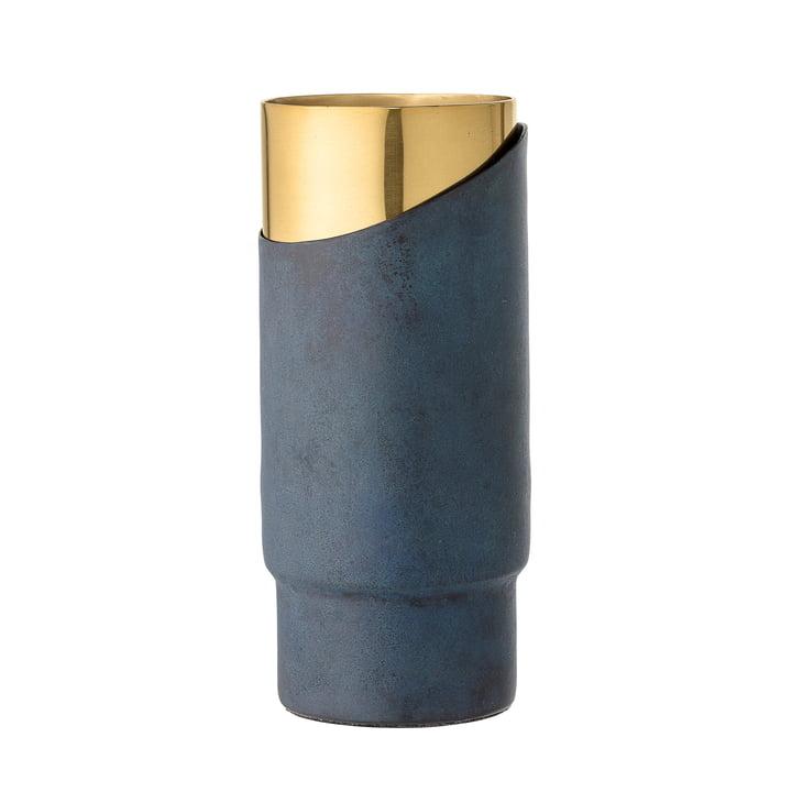 Bloomingville - Metall-Vase, H 23 cm, blau
