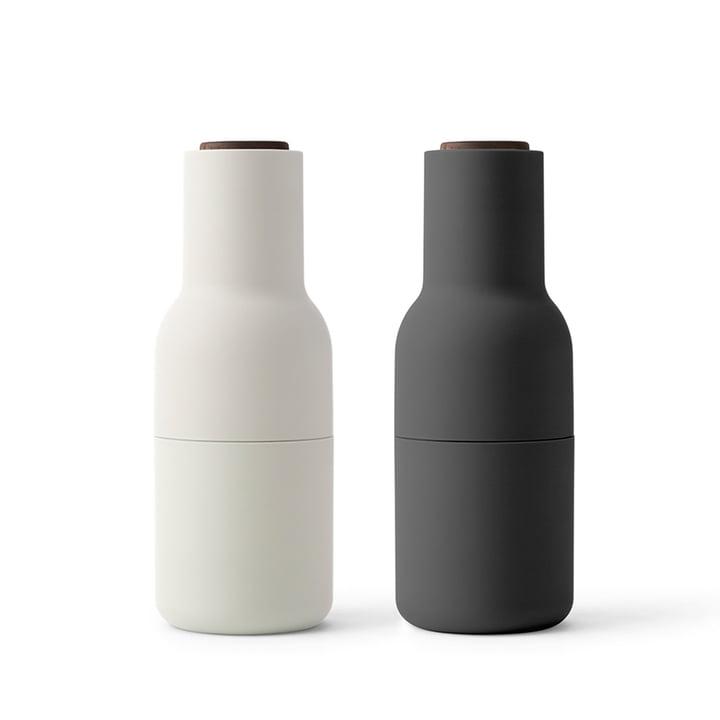 Bottle Salz- und Pfeffermühlen Set von Menu in Ash / Carbon (Holzdeckel Walnuss)