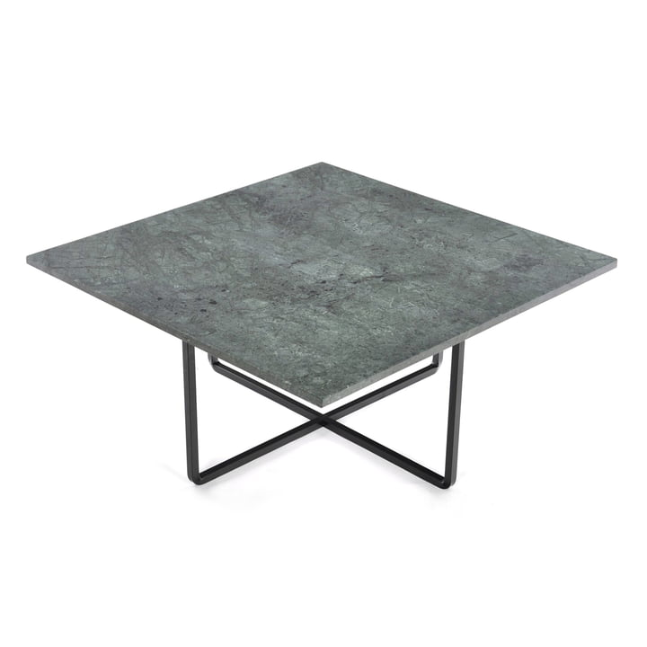 Ninety Couchtisch 80 x 80 cm von Ox Denmarq aus Stahl Schwarz / Marmor Grün