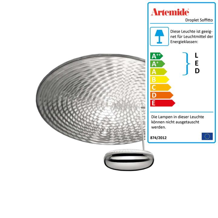 Artemide - Droplet Mini Soffitto LED Deckenleuchte, Chrom / aluminiumgrau