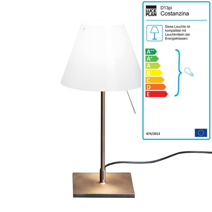 Luceplan - Costanzina Tischleuchte D13 pi.c LED, Messing / weiß
