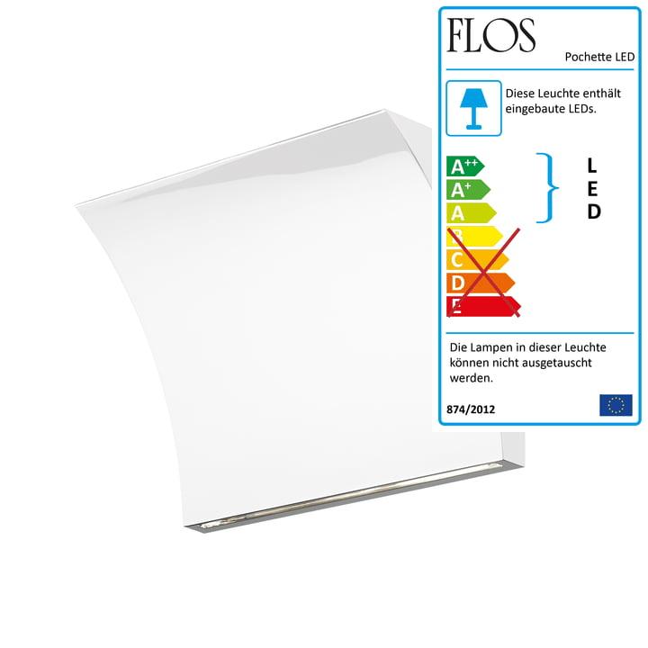 Pochette LED Up/Down Wandleuchte von Flos in Weiss