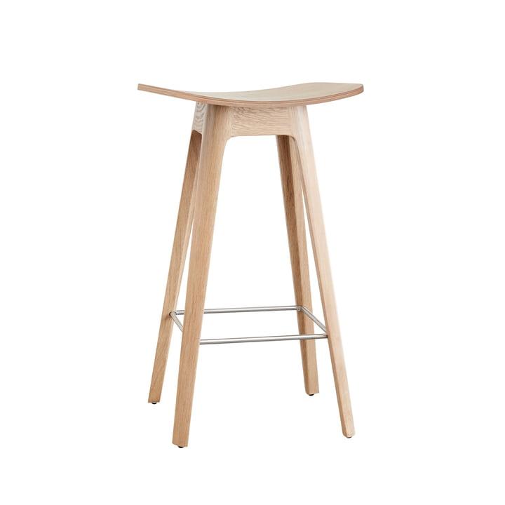 Andersen Furniture - HC1 Barhocker H 67 cm, Gestell Eiche / Furniersitz Eiche / Fussstütze Edelstahl