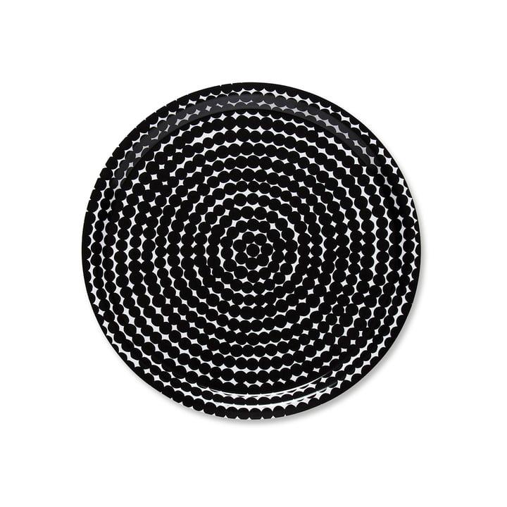 Das Marimekko - Räsymatto Tablett rund Ø 31 cm in schwarz / weiss