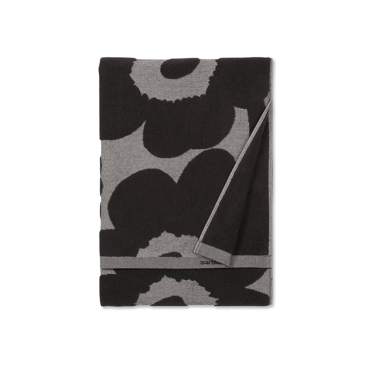 Marimekko - Unikko Jacquard Badetuch 70 x 150 cm, schwarz / beige