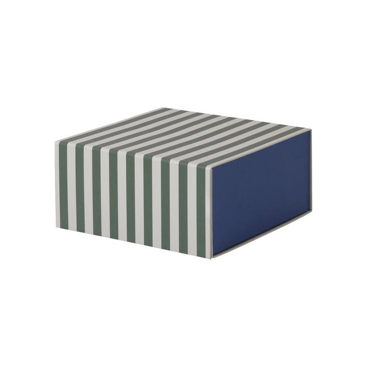 Striped Box quadratisch von ferm Living in Grün/ Cremeweiß