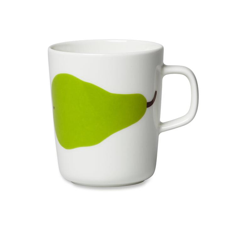 Oiva Päärynä Becher mit Henkel 250 ml von Marimekko in Weiß / Grün