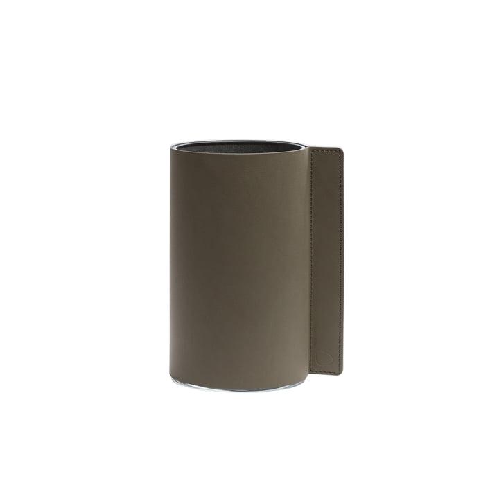 Block Vase S Ø 11 x 20 cm von LindDNA in Nupo army green / Glas