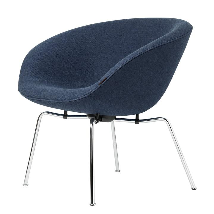 Der Fritz Hansen - Pot Sessel, Stahlrohr verchromt / blau (Fritz Hansen Colours)