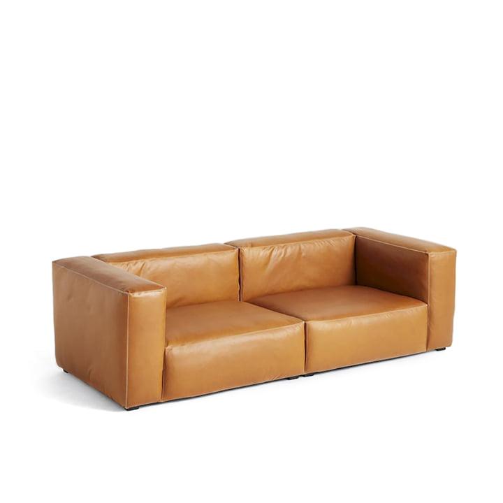 Hay - Mags Soft Sofa 2,5-Sitzer, Kombination 1, Leder Cognac (Sil0250)