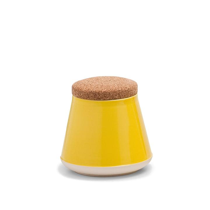 Established & Sons- Store Keramikbehälter mit Deckel H 14 cm, gloss yellow / matt white
