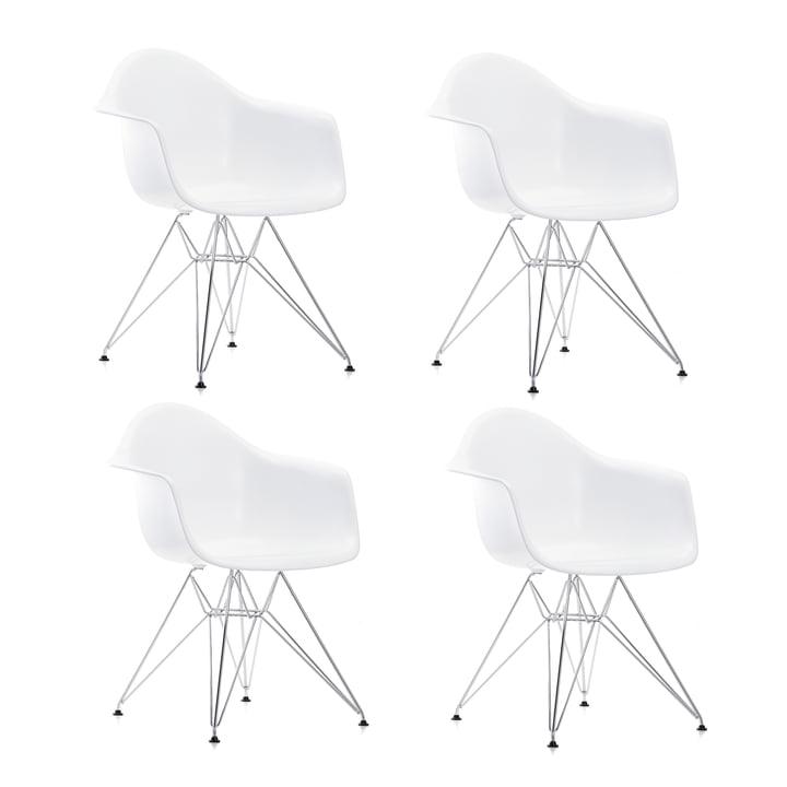 Aktion: 4 x Eames Plastic Armchair DAR von Vitra in verchromt / weiss