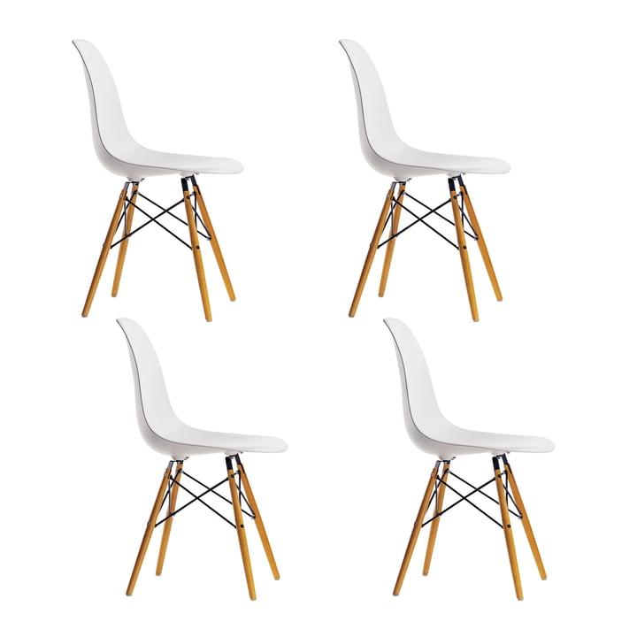 4 x Vitra - Eames Plastic Side Chair DSW (H 43 cm), Ahorn gelblich / weiß, Filzgleiter weiß