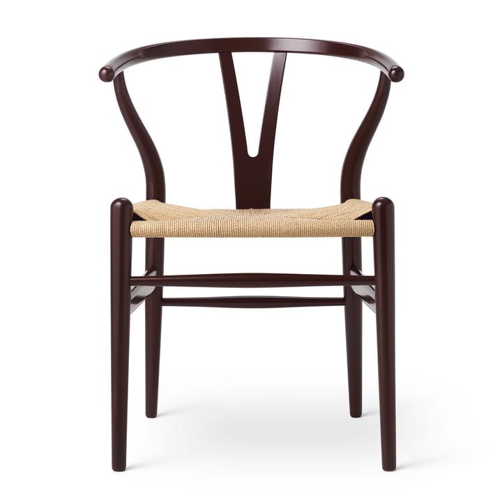 CH24 Wishbone Chair von Carl Hansen in Buche Deep Burgundy / Naturgeflecht (Birthday Edition)
