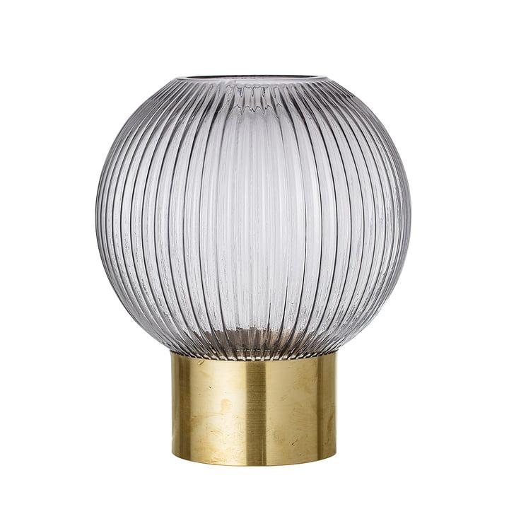 Rund-Vase mit Messing-Fuss, Ø 18 x H 25 cm von Bloomingville in grau