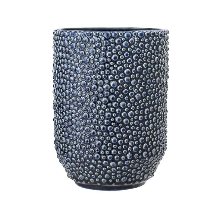 Blaue Steingut-Vase von Bloomingville - Ø 14,5 x H 20,5 cm