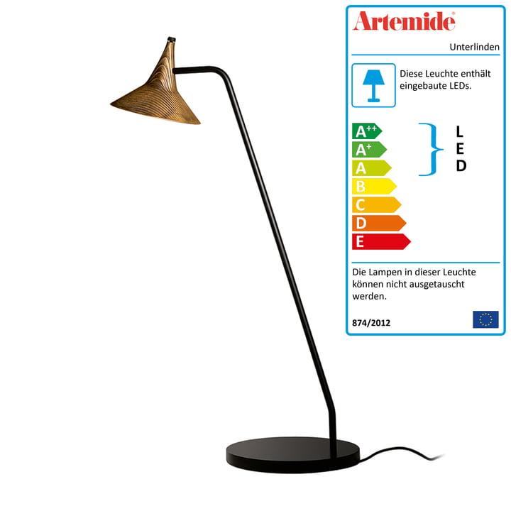 Unterlinden LED-Tischleuchte von Artemide in schwarz / Messing