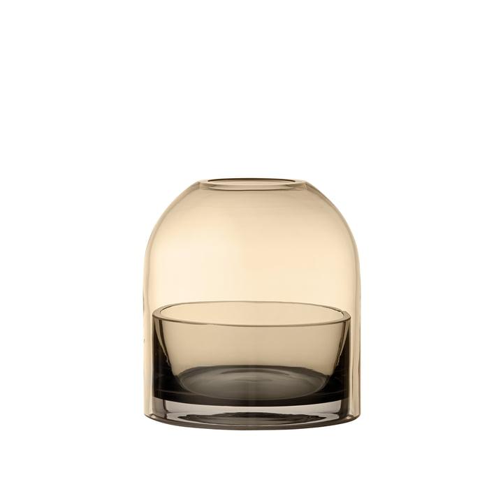 Tota Teelichthalter, Ø 9,3 x H 10,3 cm in schwarz / amber von AYTM