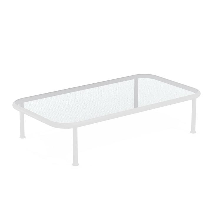Dock Tisch rechteckig von Emu in weiss / Glas gerastert