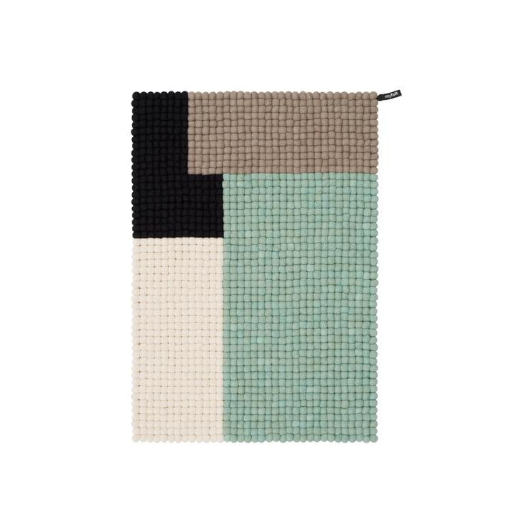 Cube Filzkugelteppich, 70 x 100 cm, mint / schwarz / weiss / braun von myfelt
