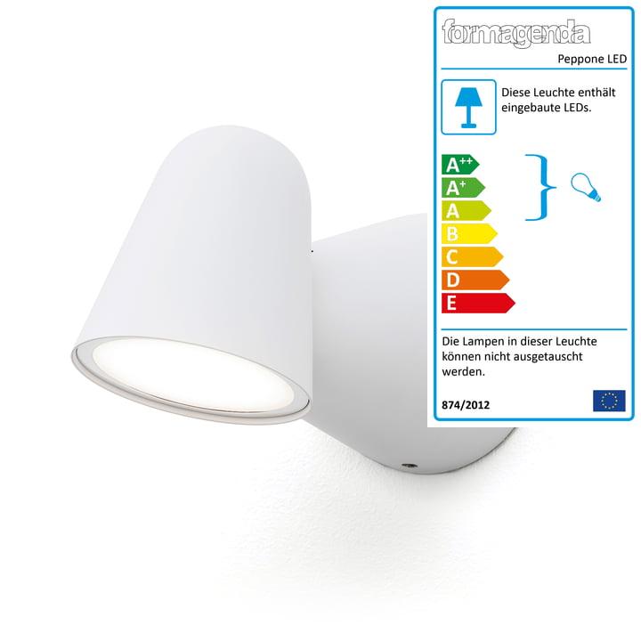 Peppone LED-Wandleuchte von Formagenda in weiss matt