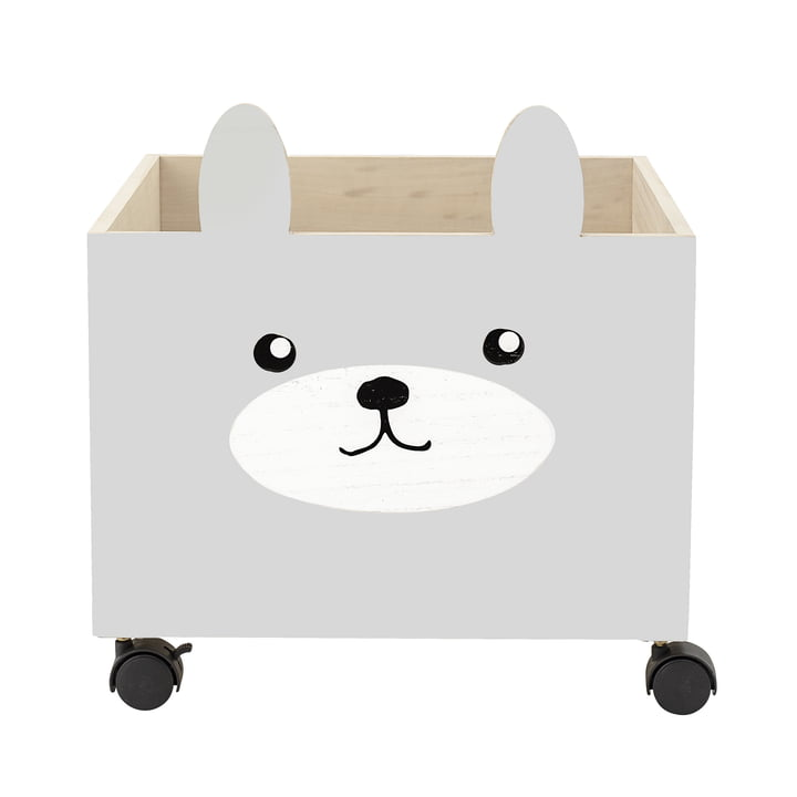 Spielzeug-Kiste mit Rollen von Bloomingville in grau / weiss