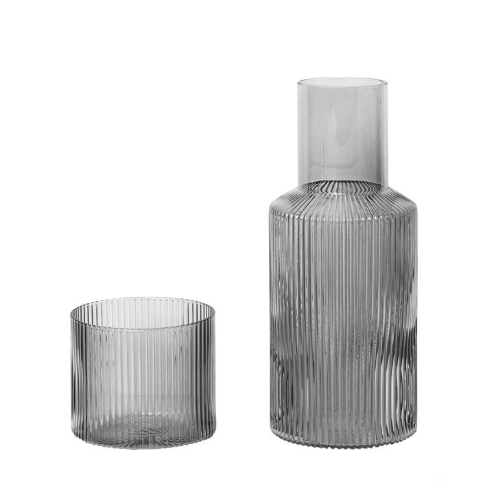 Ripple Karaffen-Set, klein / smoked grey von ferm Living