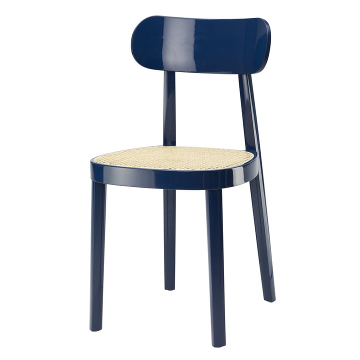 118 Stuhl von Thonet, Rohrgeflecht mit Kunststoffstützgewebe / Buche saphirblau lackiert (RAL 5003) (Sonderedition)