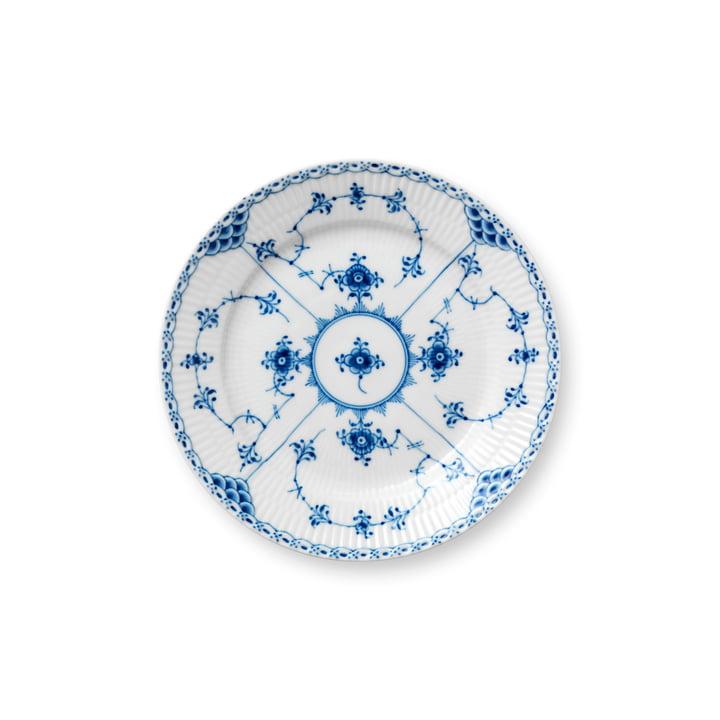 Musselmalet Halbspitze Teller flach, Ø 19 cm in weiss / blau von Royal Copenhagen