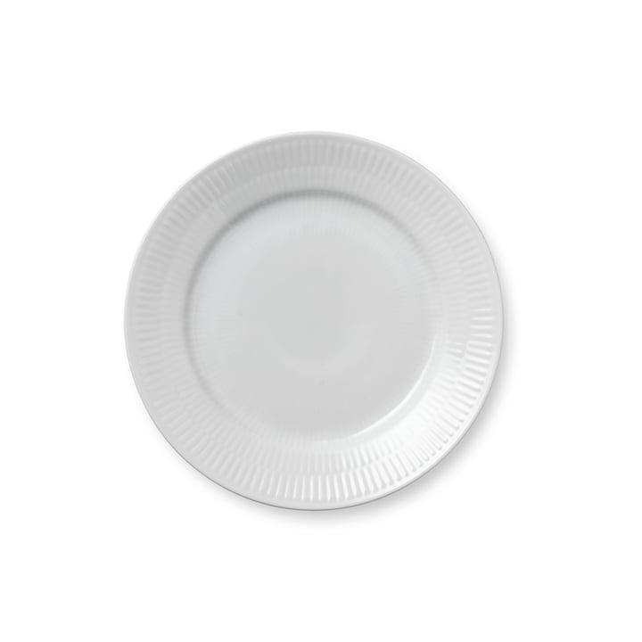 Weiss Gerippt Frühstücksteller flach, Ø 19 cm von Royal Copenhagen