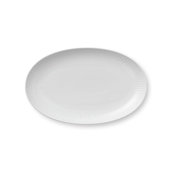 Weiss Gerippt Servierplatte oval 23 cm von Royal Copenhagen