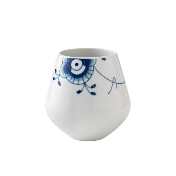 Mega Blau Gerippt Vase klein H 12 cm von Royal Copenhagen