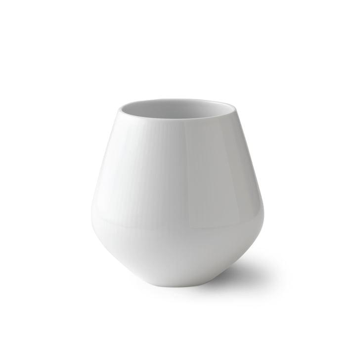 Weiss Gerippt Vase klein H 12 cm von Royal Copenhagen