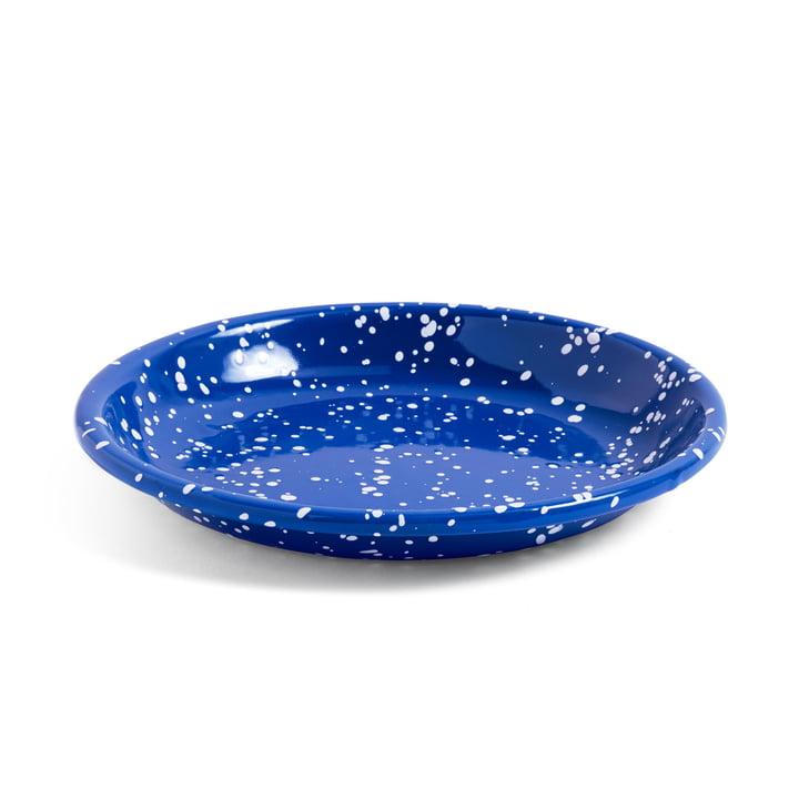 Emaille Schale / tiefer Teller Ø 20,5 cm von Hay in blau gesprenkelt