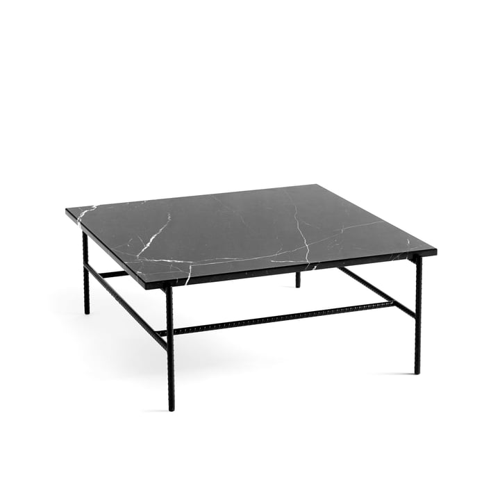 Rebar Coffee Table 80 x 84 cm von Hay in Marmor / schwarz