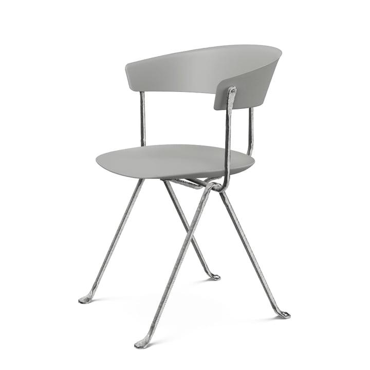 Officina Stuhl in verzinkt / grau metallic von Magis