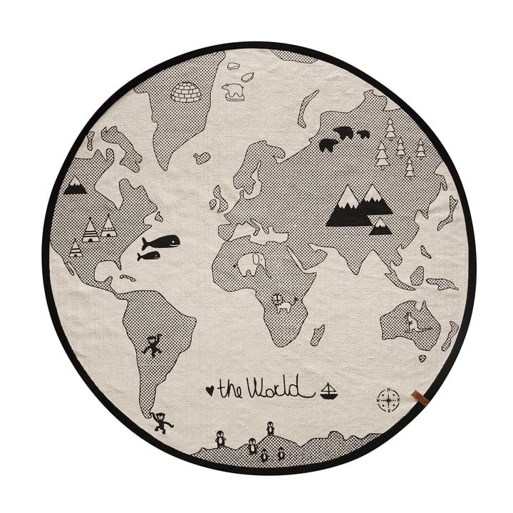 The World Spielteppich Ø 135 cm von OYOY in schwarz / grau