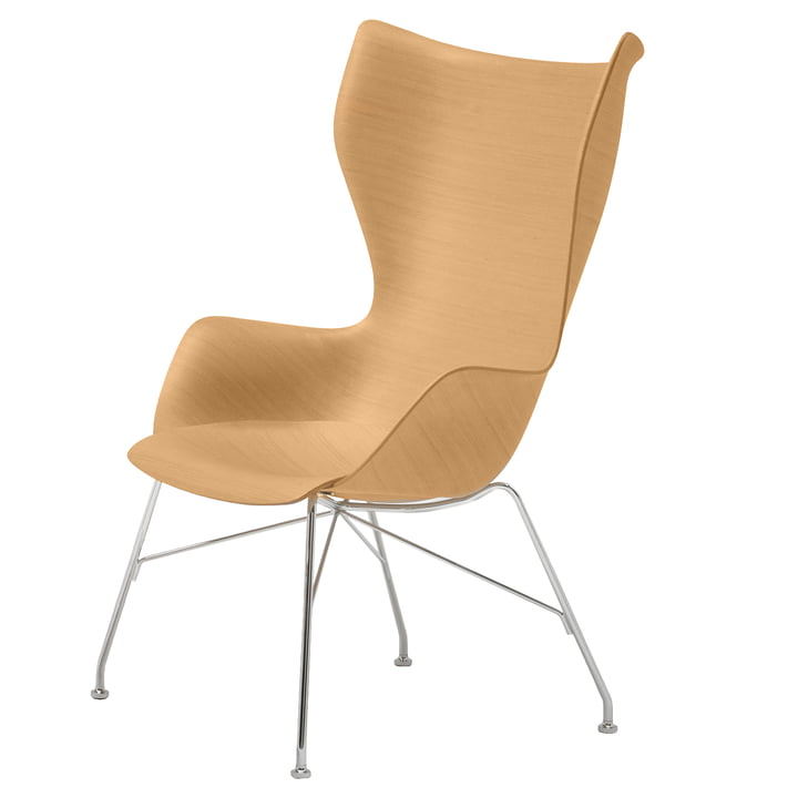 K/Wood Sessel von Kartell in verchromt / hell