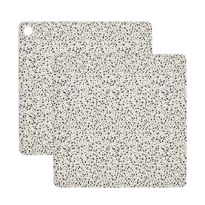 Tischset Terrazzo, 38 x 38 cm in weiss (2er-Set) von OYOY