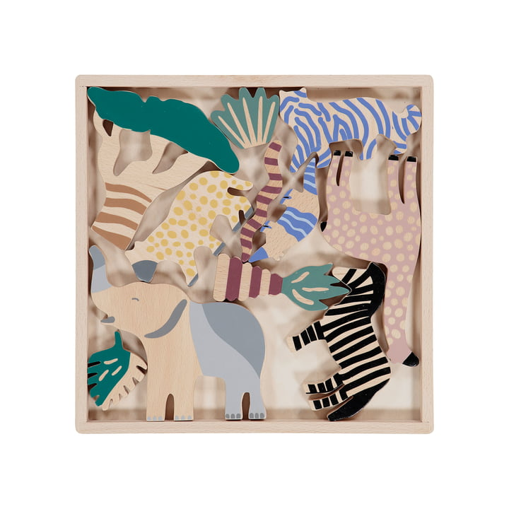 Safari Animal Box (12er-Set) von ferm Living in Birke multi