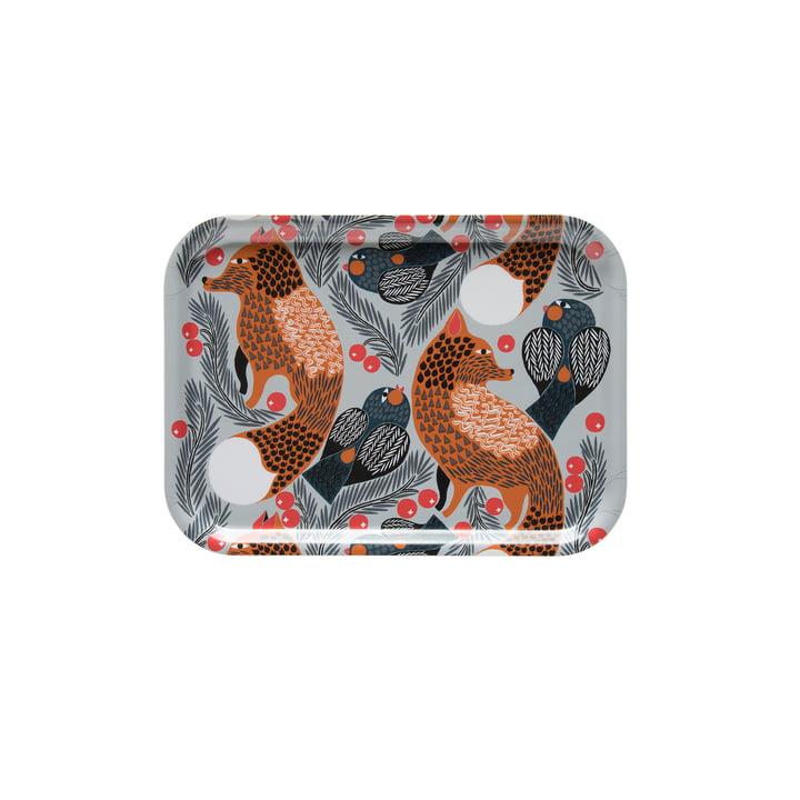 Ketunmarja Tablett 27 x 20 cm von Marimekko in weiss / braun / grau