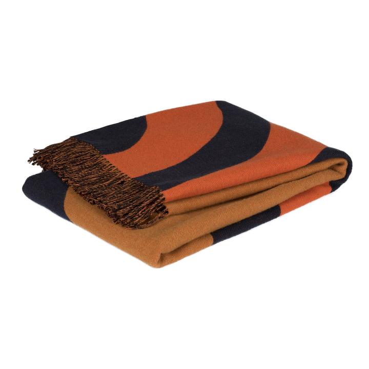 Keisarinkruunu Wolldecke 130 x 170 cm von Marimekko in braun / schwarz / orange