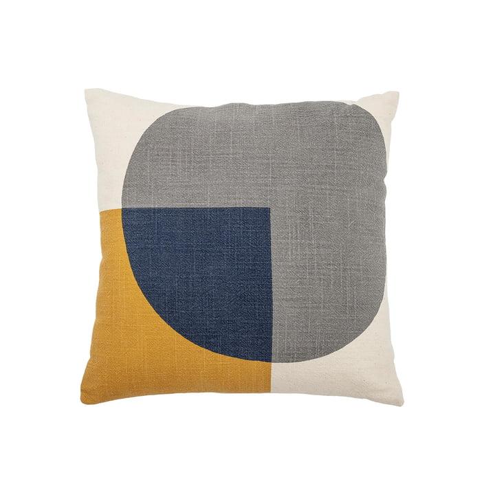 Baumwollkissen mit Grafik-Muster 40 x 40 cm von Bloomingville in blau / gelb