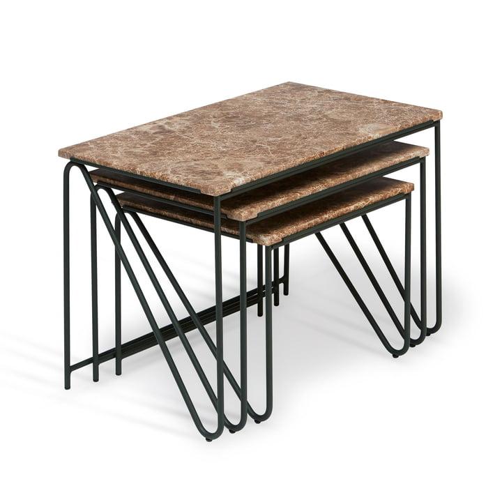 Triptych Nesting Table Beistelltisch, zederngrün / Marmor braun (3er-Set) von Please wait to be seated