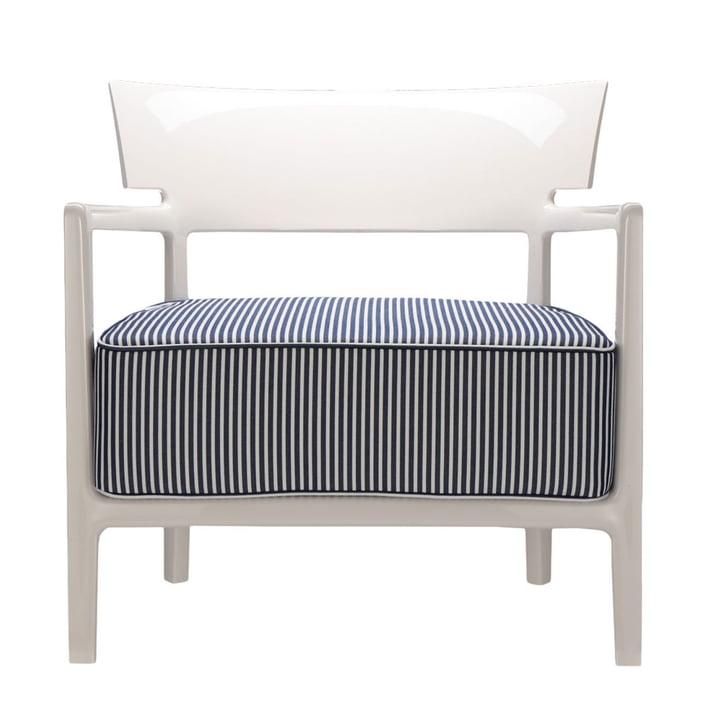 Cara Outdoor Sessel von Kartell mit Gestell elfenbein / Bezug blau-weiss