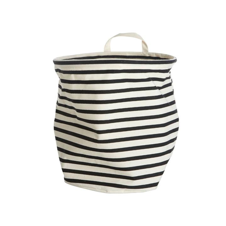 Aufbewahrungskorb Stripes Ø 30 x H 30 cm von House Doctor in schwarz / weiss