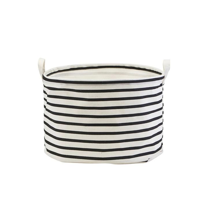 Aufbewahrungskorb Stripes Ø 40 x H 25 cm von House Doctor in schwarz / weiss
