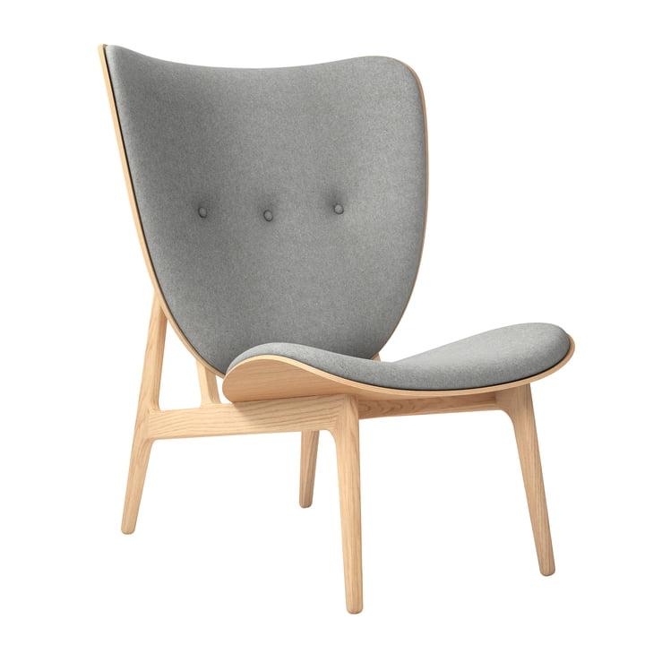 Elephant Lounge Sessel von Norr11 in Eiche natur / Wolle hellgrau (Light Grey 1000)